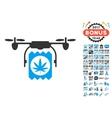 Drone Cannabis Delivery Icon With 2017 Year Bonus vector image vector image