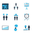 executive icons colored set with idea discussions vector image