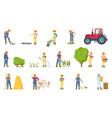 farmer busy with seasonal work vector image