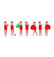 flat santa claus set simplified happy christmas vector image vector image