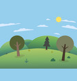 forest on hills with big mountains vector image vector image