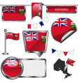 glossy icons with flag of province ontario vector image vector image