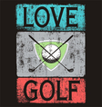 Golf love black shirt vector image vector image