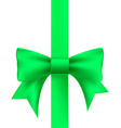 green ribbon with a bow vector image vector image