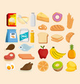 group of nutritive food icons vector image vector image