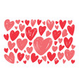hand drawn red heart set elements doodle vector image vector image