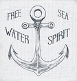 Hand drawn sketched anchor textured grunge vintage vector image vector image