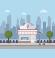 ice cream shop with city background vector image vector image