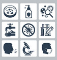 infection virus related icon set vector image vector image