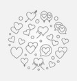 lots of hearts in round shape line vector image vector image