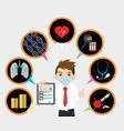 man is holding covid-19 health insurance vector image vector image