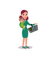 mother carrying a shopping basket in one arm and vector image vector image