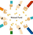 mutual fund hand with money coin invest to fund vector image