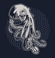 octopus vintage on blue pattern background vector image vector image