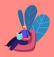 online school concept schoolboy character sitting vector image