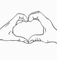 outline two hands with a heart shape pair of vector image vector image