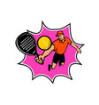padel player with racquet jumping bll retro mascot vector image vector image