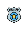 police badge flat color icon isolated on white vector image