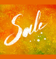 sale word lettering on autumn foliage background vector image