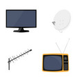 satellite dish antenna new modern lcd tv monitor vector image