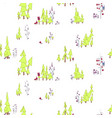 seamless pattern fairy forest with owls vector image vector image