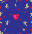 Seamless pattern with cupids and hearts vector image