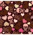 seamless pattern with skull and sweetmeat in form vector image