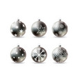 set 3d christmas balls with winter ornament vector image