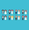 set pixel art wedding couples vector image