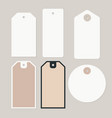 set various blank white paper gift tags labels vector image
