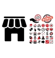 Shop Building Flat Icon with Bonus vector image vector image