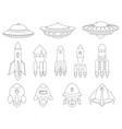 spaceship spacecraft rocket ufo vector image vector image