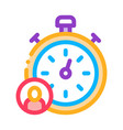 stopwatch human icon outline vector image vector image