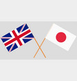 the crossed japan and uk flags vector image vector image