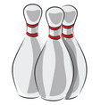 three white bowling skittles with red stripes on vector image