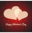 Valentines card with blurred cream hearts on red vector image