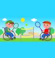 wheelchair tennis match vector image vector image