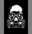 white skull with respirator on black background vector image vector image