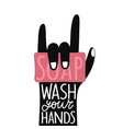 with pink soap black human palm showing rock sign vector image vector image