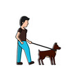 young man walking with their dog pet vector image vector image