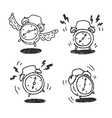 Four alarm clocks icons vector image