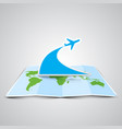 a map and a plane made by paper vector image vector image
