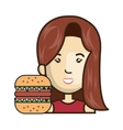 avatar woman with fast food vector image vector image