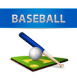 Baseball Ball Bat and Green Field Emblem vector image vector image