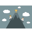 Businessmen climbing to the top of success vector image