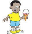 Cartoon African boy eating an ice cream cone vector image vector image