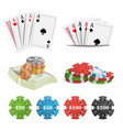 casino design elements poker cards chips vector image vector image