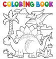 coloring book dinosaur theme 1 vector image vector image