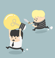 Concepts Cartoons Thief stealing idea Businessman vector image vector image