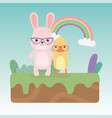 cute and little rabbit and duck in field vector image